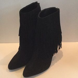 Zara black suede fringe trimmed booties